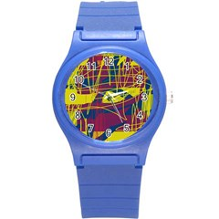 Yellow High Art Abstraction Round Plastic Sport Watch (s) by Valentinaart