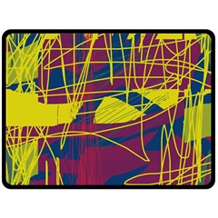 Yellow High Art Abstraction Double Sided Fleece Blanket (large)  by Valentinaart