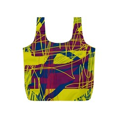 Yellow High Art Abstraction Full Print Recycle Bags (s)  by Valentinaart