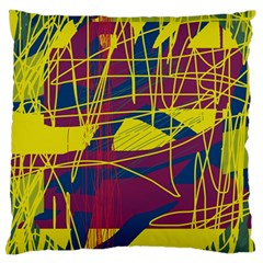 Yellow High Art Abstraction Large Flano Cushion Case (one Side) by Valentinaart