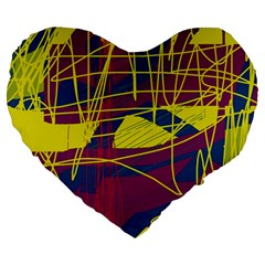 Yellow high art abstraction Large 19  Premium Flano Heart Shape Cushions by Valentinaart
