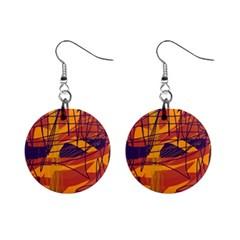 Orange high art Mini Button Earrings