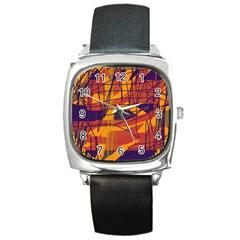 Orange High Art Square Metal Watch by Valentinaart