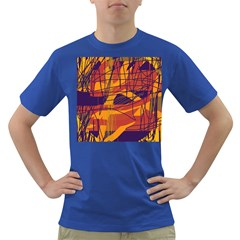 Orange High Art Dark T Shirt by Valentinaart