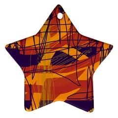 Orange High Art Star Ornament (two Sides)  by Valentinaart