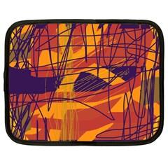 Orange High Art Netbook Case (xl)  by Valentinaart