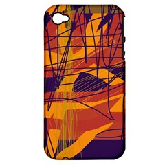 Orange High Art Apple Iphone 4/4s Hardshell Case (pc+silicone) by Valentinaart