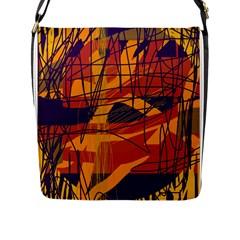 Orange High Art Flap Messenger Bag (l)  by Valentinaart