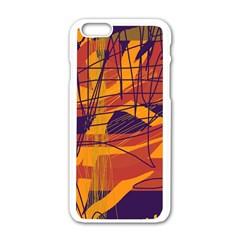 Orange High Art Apple Iphone 6/6s White Enamel Case by Valentinaart