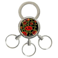 Red And Yellow Hot Design 3 Ring Key Chains by Valentinaart