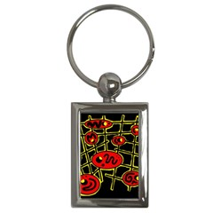 Red And Yellow Hot Design Key Chains (rectangle)  by Valentinaart