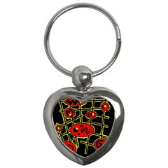 Red And Yellow Hot Design Key Chains (heart)  by Valentinaart