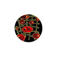 Red And Yellow Hot Design Golf Ball Marker by Valentinaart