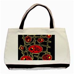Red And Yellow Hot Design Basic Tote Bag by Valentinaart