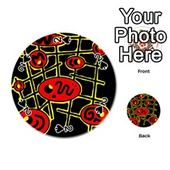 Red And Yellow Hot Design Playing Cards 54 (round)  by Valentinaart