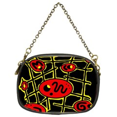 Red And Yellow Hot Design Chain Purses (one Side)  by Valentinaart