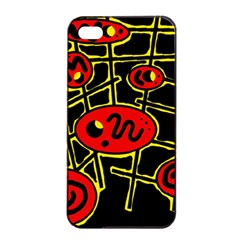 Red And Yellow Hot Design Apple Iphone 4/4s Seamless Case (black) by Valentinaart