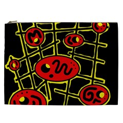 Red And Yellow Hot Design Cosmetic Bag (xxl)  by Valentinaart
