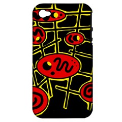 Red And Yellow Hot Design Apple Iphone 4/4s Hardshell Case (pc+silicone) by Valentinaart