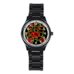 Red And Yellow Hot Design Stainless Steel Round Watch by Valentinaart