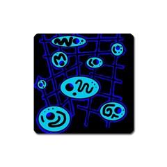 Blue Decorative Design Square Magnet by Valentinaart