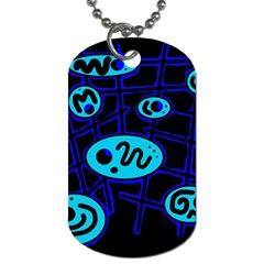 Blue Decorative Design Dog Tag (one Side) by Valentinaart