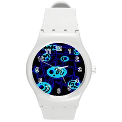Blue Decorative Design Round Plastic Sport Watch (m) by Valentinaart