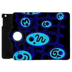 Blue Decorative Design Apple Ipad Mini Flip 360 Case by Valentinaart