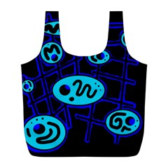 Blue Decorative Design Full Print Recycle Bags (l)  by Valentinaart