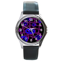 Blue And Magenta Abstraction Round Metal Watch by Valentinaart