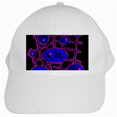 Blue And Magenta Abstraction White Cap by Valentinaart