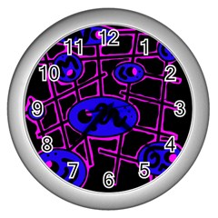 Blue and magenta abstraction Wall Clocks (Silver)