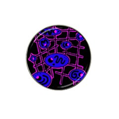 Blue And Magenta Abstraction Hat Clip Ball Marker (4 Pack) by Valentinaart