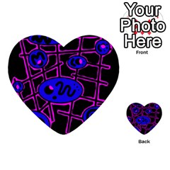 Blue And Magenta Abstraction Multi Purpose Cards (heart)  by Valentinaart
