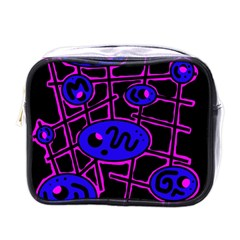 Blue And Magenta Abstraction Mini Toiletries Bags by Valentinaart