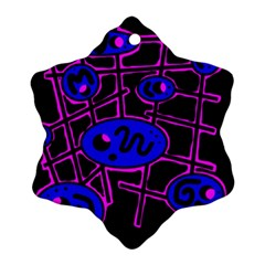 Blue And Magenta Abstraction Snowflake Ornament (2 Side) by Valentinaart