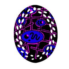 Blue And Magenta Abstraction Oval Filigree Ornament (2 Side)  by Valentinaart