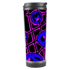 Blue And Magenta Abstraction Travel Tumbler by Valentinaart