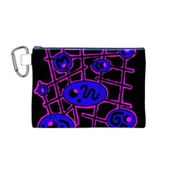 Blue And Magenta Abstraction Canvas Cosmetic Bag (m) by Valentinaart