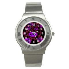 Purple And Red Abstraction Stainless Steel Watch by Valentinaart