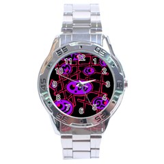 Purple And Red Abstraction Stainless Steel Analogue Watch by Valentinaart