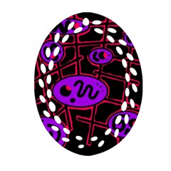 Purple And Red Abstraction Ornament (oval Filigree)  by Valentinaart