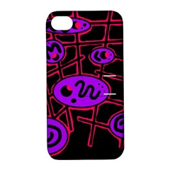 Purple And Red Abstraction Apple Iphone 4/4s Hardshell Case With Stand by Valentinaart