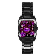 Purple And Red Abstraction Stainless Steel Barrel Watch by Valentinaart