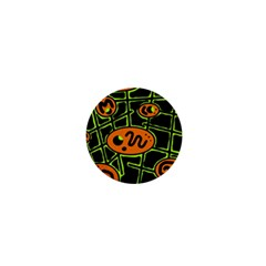 Orange And Green Abstraction 1  Mini Buttons by Valentinaart