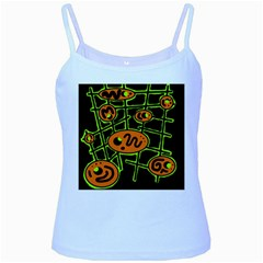 Orange And Green Abstraction Baby Blue Spaghetti Tank by Valentinaart