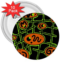 Orange And Green Abstraction 3  Buttons (10 Pack)  by Valentinaart