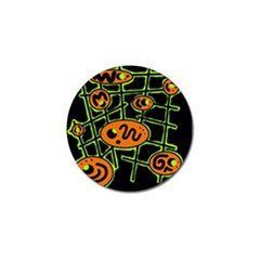 Orange And Green Abstraction Golf Ball Marker (4 Pack) by Valentinaart