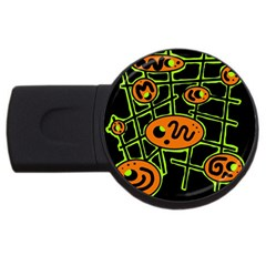 Orange And Green Abstraction Usb Flash Drive Round (2 Gb)  by Valentinaart
