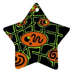 Orange And Green Abstraction Star Ornament (two Sides)  by Valentinaart